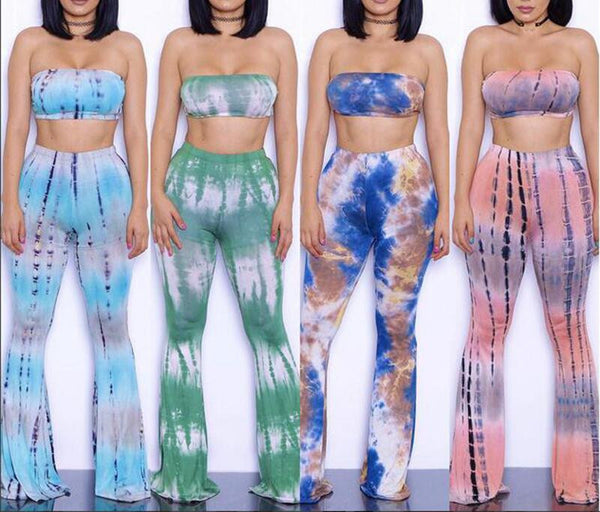 Dmart7deal;Bandeau Plus Size Twinset Tie Dye Boho Jumpsuit Bodycon Flared Bell Pants