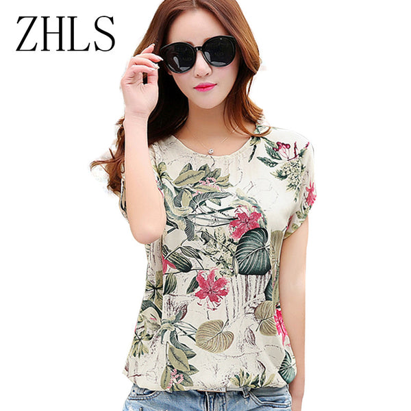 Floral Print Women's Blouses ladies Shirts Summer Tops Casual Plus Size blouse shirt fashion korean 2016 new blusas female 60571