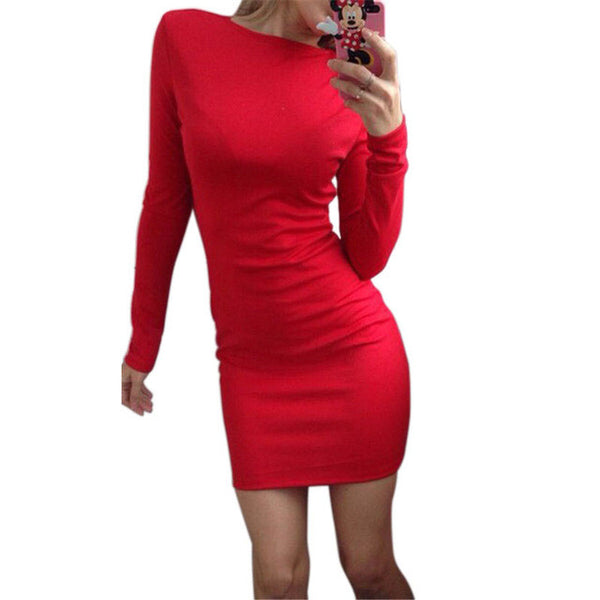 Dmart7dealAutumn Dress Women Solid Color Package Hip Dress Ukraine Casual Long-sleeved Plus size Club Party Dresses