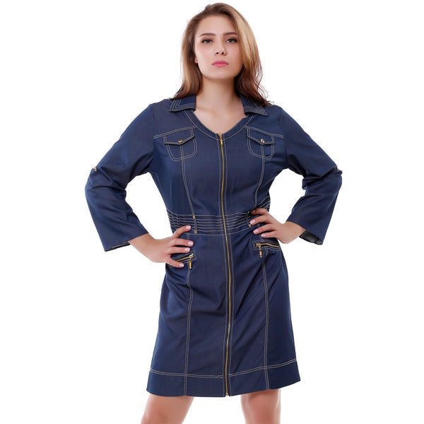 Dmart7deal;Soft thin Denim Dress Metal zipper cardigan Half Roll Sleeve vestidos plus size