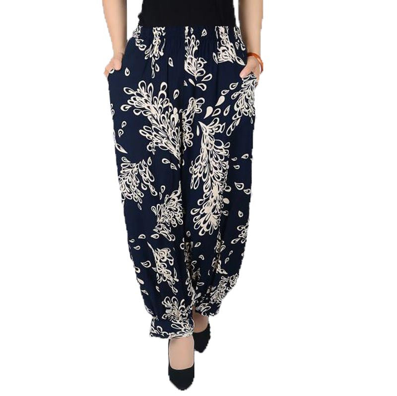 Summer Style Plus Size Flower Print Women Pants...