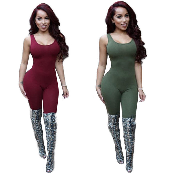 Dmart7deal Backless Combinaison Romper Bodycon  Overalls Bodysuit Plus Size Club Overalls Jumpsuits