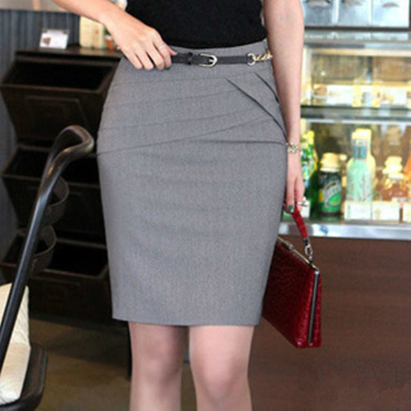 Dmart7deal Women Career Short Formal Skirts Ladies Sexy High Waist Knee-Length Pencil Skirt 4 Colors Plus Size
