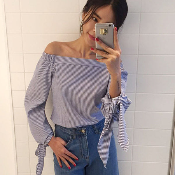 Dmart7deal Sexy Blouses Slash Neck Off Shoulder Bow Long Sleeve Tops White Striped Party