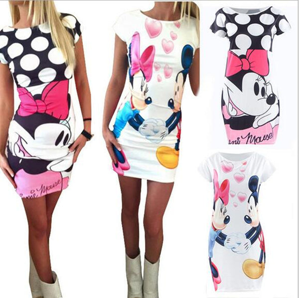 Dmart7deal Fashion Women Summer Plus Size S-3XL Short Sleeve Slim Bodycon Cartoon Mouse Print Sexy Mini Dress Vestido Curto Cortos