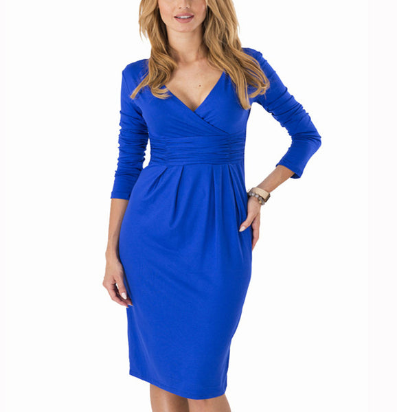 Dmart7deal;Dress V-neck Elegant Pleated Slim Plus Size Midi Dress Vestido