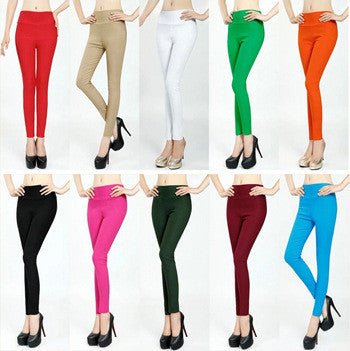 Dmart7deal New Fashion Causal Brand High Elastic Women Slim High Waist Sexy Leggings Plus Size High Elastic 20 Candy Colors