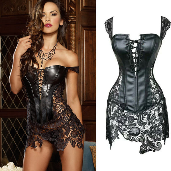 Dmart7deal sexy leather corsets skirt lace-up hollow out corsele black faux leather lace Shaper Bustier Plus Size Steampunk Corset Dress