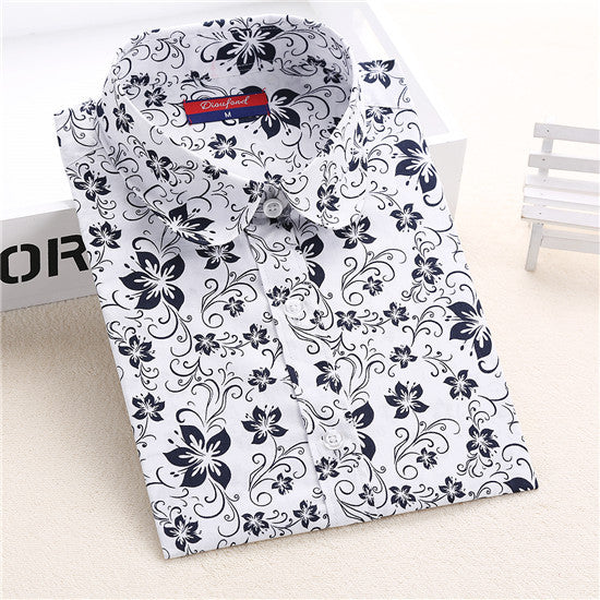 Dmart7deal Long Sleeve Shirt Cotton Women Shirts Cherry Casual  Ladies Tops Animal Print Blouse Plus Size