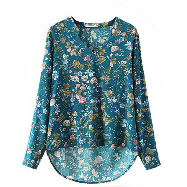 S-XL Plus Size Women Elegant Vintage Long Sleeve V-neck Floral  Blouses Pullover Cotton OL Shirts Casual Loose Blouse Tops