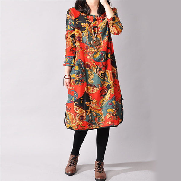 Dmart7deal;Printed Ethnic Loose Cotton Linen Dress