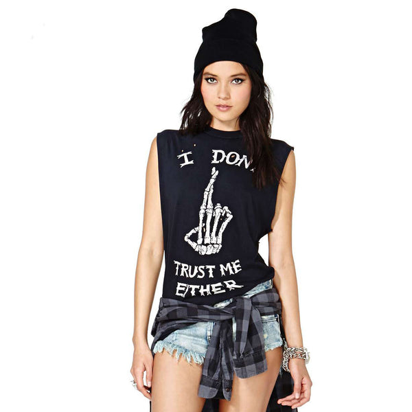Dmart7dealPlus Size Tops Direct Selling New Exo Women T Shirt Skull Printed I Don't Trust Me Either Punk Big Sleeveless T-shirt 920