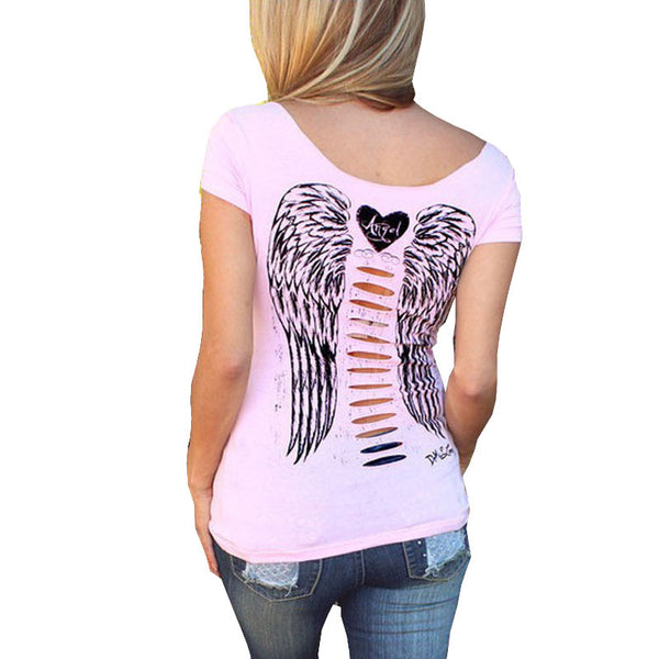 Dmart7dealPink Women T Shirt Hollow Angel Wings Style  Short Sleeve Tops Sexy Slim V Neck