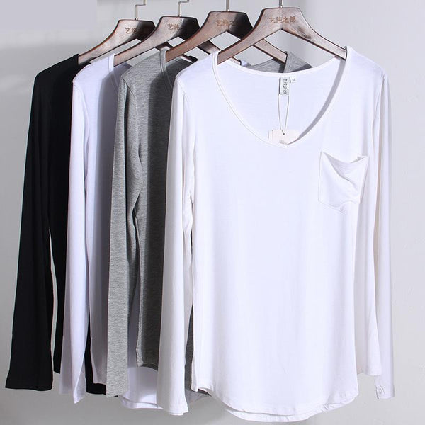 Dmart7dealModal Long Sleeve V Neck Pure Color T Shirts Loose Bottoming Plus Size