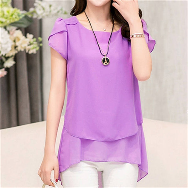 Soperwillton New 2016 Blouse Shirt  Feminina Short Sleeve Chiffon Blouses Women Clothing Summer Female Plus Size Blusas Top #A00
