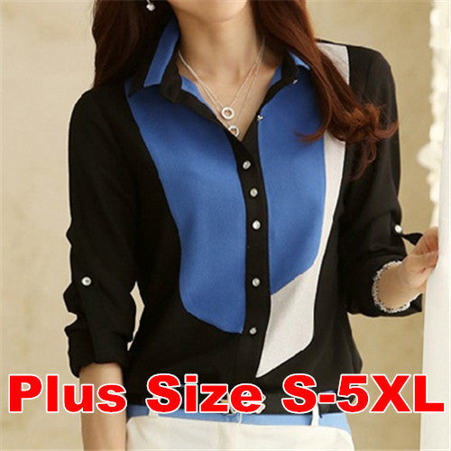 Dmart7deal5XL Plus Size Camisas Female Blusas Patchwork Striped Office Chiffon Shirts Tee