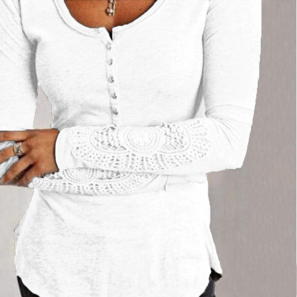 Zanzea Blusas Femininas 2016 Women Embroidery Crochet Lace Sleeve Hollow Blouses Casual Solid O Neck Blouse Shirt Plus Size Tops