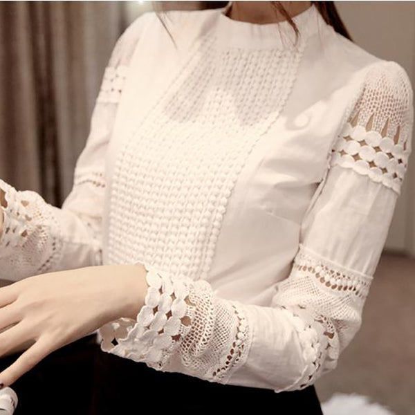 Dmart7deal Elegant Long Sleeve White Cotton Slim Crochet Hollow Lace women tops blouse Shirt