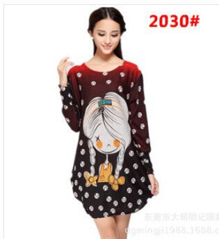Dmart7deal Cartoon Girl Cat Print Knitted Dress Tunic