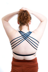 TIE DYE - Crossed Back Bra Top - Blue Booby
