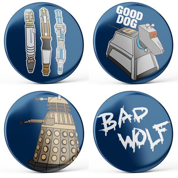 Doctor Who Buttons (4-piece set)