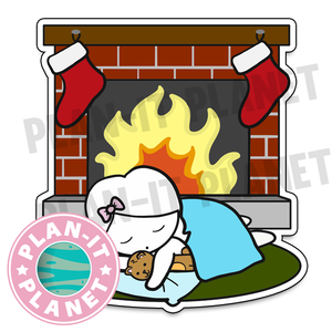 Sleeping in Front of the Fireplace Luna Large Die Cut