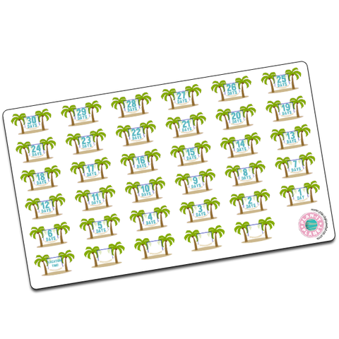 Beach Countdown Stickers