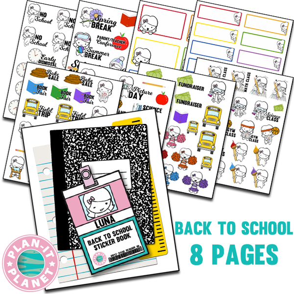 Back to School Luna Sticker Book