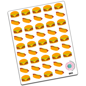 Cheeseburger and Hot Dog Stickers