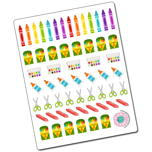 School Supplies Stickers