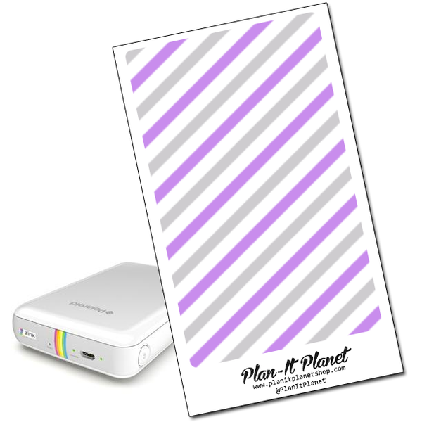 Purple and Gray Stripes Polaroid Zip Skin