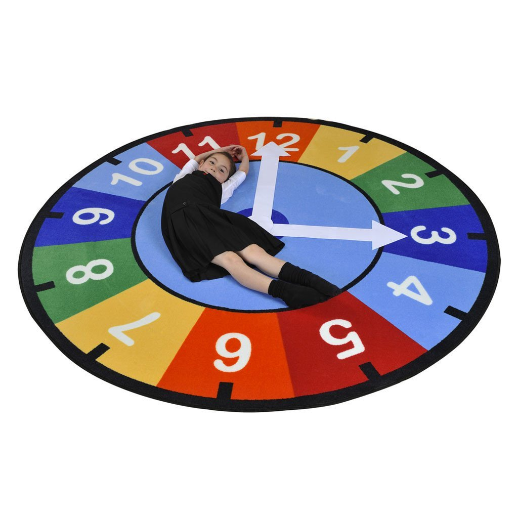 Learning Carpets 'Rainbow Clock' Learning Rug - Round