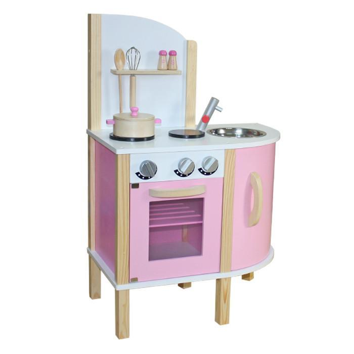 Liberty House Toys 'Little Chef' Contemporary Wooden Toy Kitchen - Pink - w/ accessories