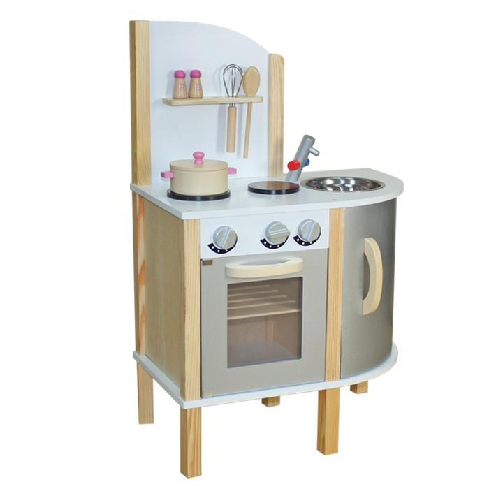Liberty House Toys 'Little Chef' Contemporary Wooden Toy Kitchen - Grey - with accessories