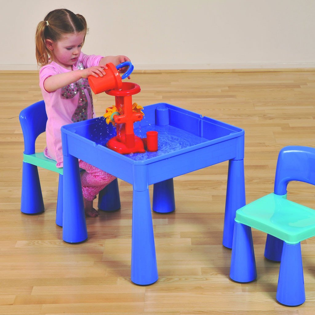 Liberty House Toys 5-in-1 Multipurpose Activity Table & Two Chairs - blue