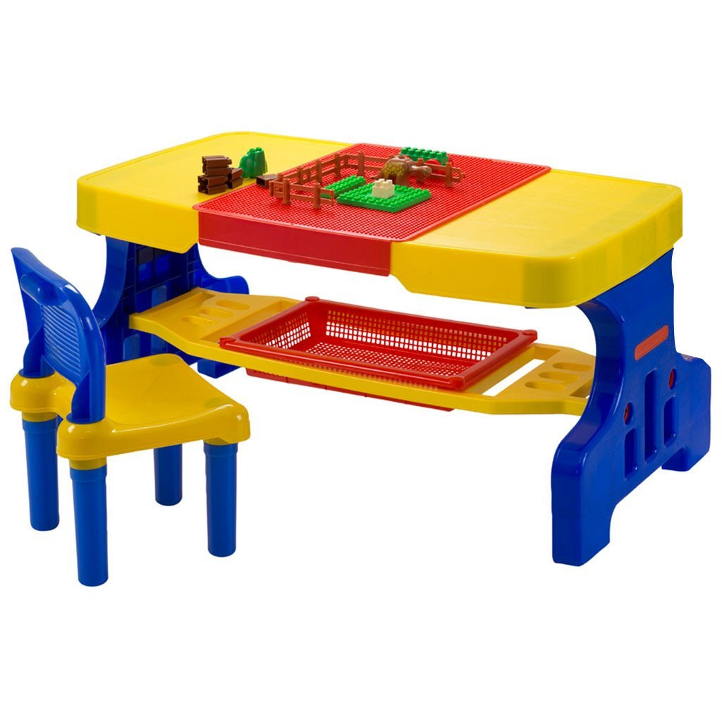 Liberty House Toys Giant Activity & Picnic Table with Lego Top and Two Chairs