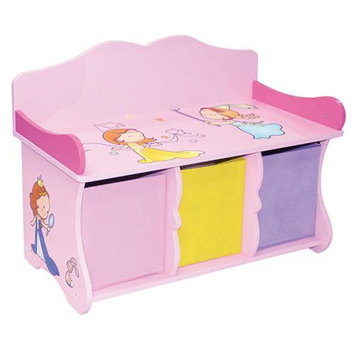 Liberty House Toys 'Princess' Bench with 3 Fabric Bins