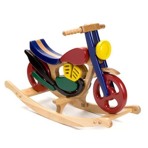 Wooden Mirage Rocking Bike - Colourful