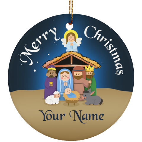 Nativity Scene Personalized Ceramic Christmas Ornament