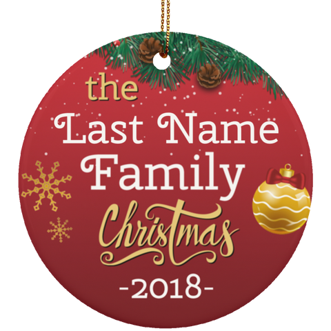 Personalized Family Ceramic Christmas Ornament