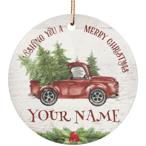 Personalized Red Pickup Truck Ceramic Christmas Ornament