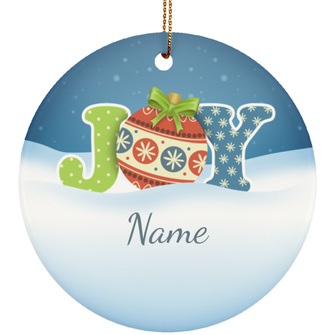 Joy Personalized Ceramic Christmas Ornament