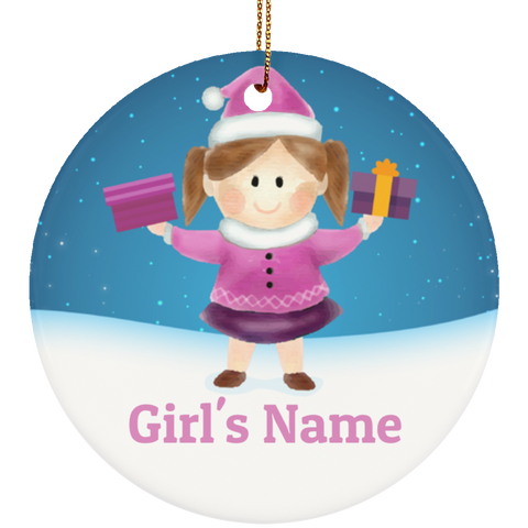 Personalized Girl's Ceramic Christmas Ornament