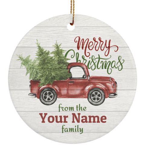 Personalized Pickup Truck Ceramic Christmas Ornament