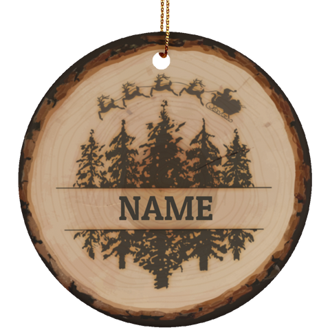 Personalized Log Ceramic Christmas Ornament
