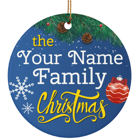 Family Christmas Ceramic Ornament