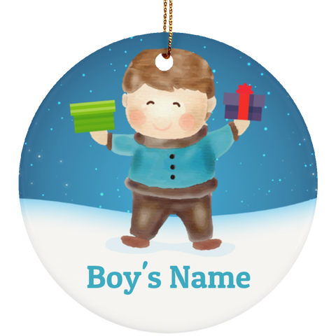 Boy's Personalized Ceramic Christmas Ornament