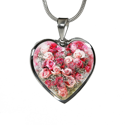Heart Shaped Rose Bouquet Pendant Necklace