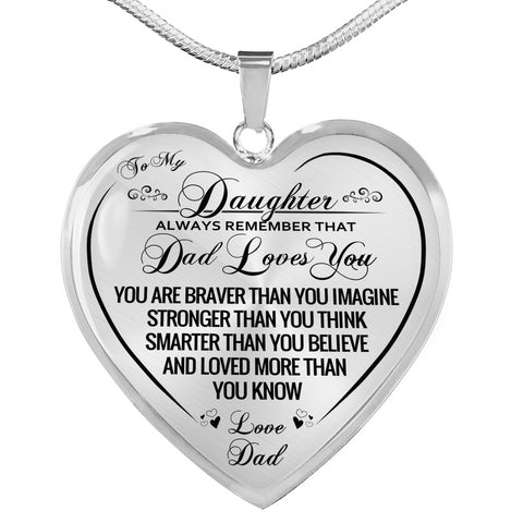 To My Daughter Mom Loves You Heart Necklace