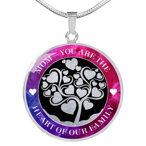Mom You Are The Heart Of The Family Pendant Necklace